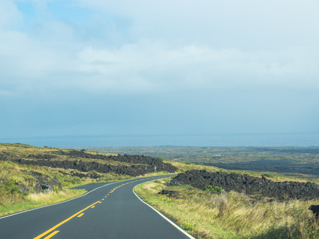 large formation: Chain of Craters Road is a 19-mile winding paved road through the East Rift and coastal area of the Hawaii Volcanoes National Park on the island of Hawaii. Stock Photo