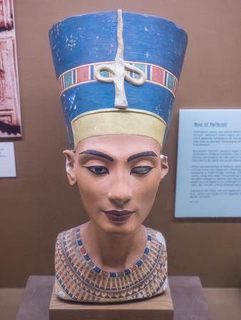 Nefertiti Bust is a 3,300-year-old painted stucco-coated limestone bust of Nefertiti, the Great Royal Wife of the Egyptian Pharaoh Akhenaten. Editoriali