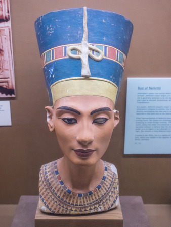 ladies bust: Nefertiti Bust is a 3,300-year-old painted stucco-coated limestone bust of Nefertiti, the Great Royal Wife of the Egyptian Pharaoh Akhenaten. Editorial