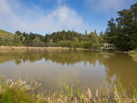 children pond: Overlooking Alpine Pond at Skyline Ridge Open Space Preserve, the David C. Daniels Nature Center features imaginative displays that both children and adults can enjoy.