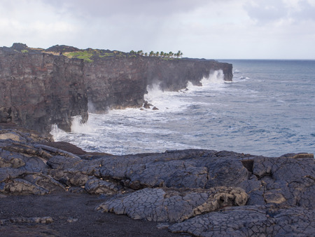 craters: Kalapana coast at the end of Chain of Craters Road in Hawaii Volcanoes National Park