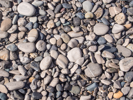 shingle beach: Pebbles on a shingle beach in Ano Nueavo State Park. Stock Photo