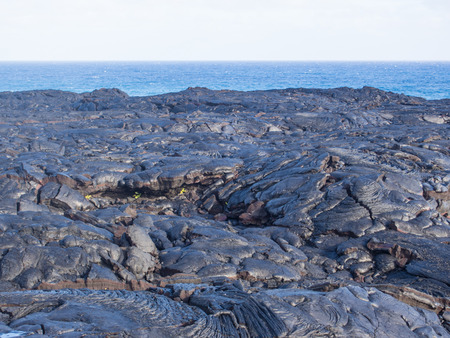 kilauea: Chain of Craters Road is a 19-mile winding paved road through the East Rift and coastal area of the Hawaii Volcanoes National Park on the island of Hawaii. Stock Photo