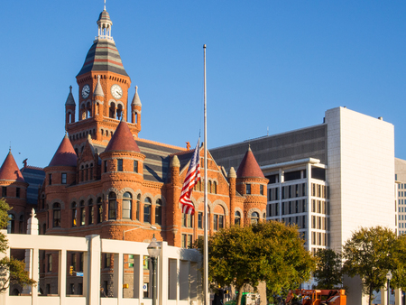 accents: Dallas County Courthouse, built in 1892 of red sandstone rusticated marble accents, is a historic governmental building located at 100 South Houston Street in Dallas, Texas.