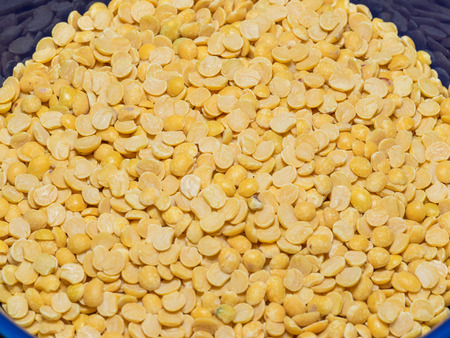 pigeon pea: Pigeon pea (Cajanus cajan) is a perennial legume from the family Fabaceae. Stock Photo
