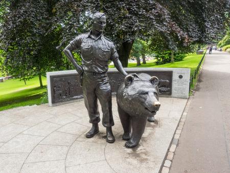 princes street: Wojtek the Soldier Bear Memorial in Princes Street Gardens, Edinburgh, Scotland.