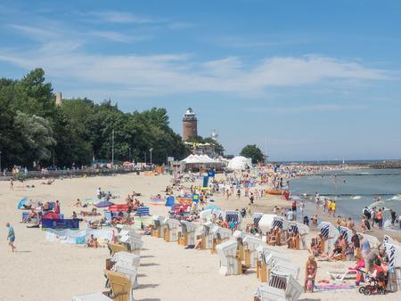 Central Beach in Kolobrzeg during summer vacations. Sajtókép