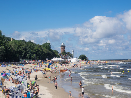 Central Beach in Kolobrzeg during summer vacations. Editöryel