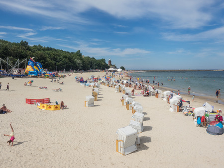 Central Beach in Kolobrzeg during summer vacations. Editorial