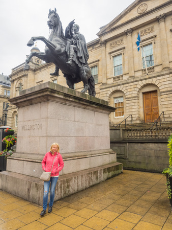princes street: Equestrian statue of the Duke of Wellington located at east end of Princes Street, Edinburgh Stock Photo