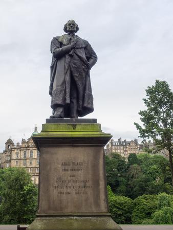 princes street: Statue of Adam Black in Princes Street Gardens in Edinburgh, Scotland.
