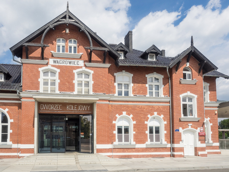wielkopolska: Renovated old train station in Wagrowiec, Poland