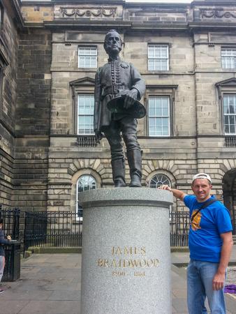 scottish parliament: James Braidwood statue in Parliament Square in Edinburgh.