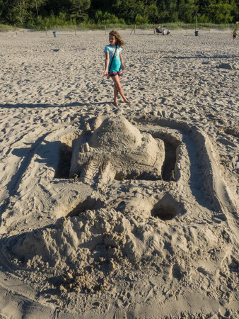 Sand sculptures on the Central Beach in Kolobrzeg Stock fotó