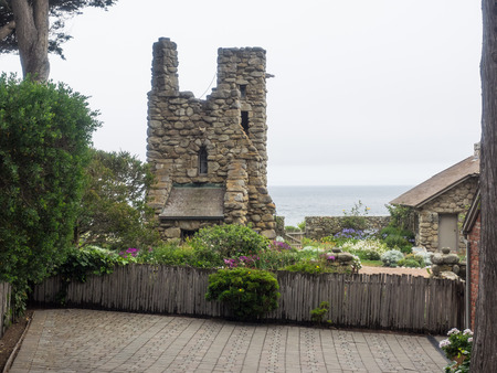 poet: Tor House and Hawk Tower are buildings in Carmel-by-the-Sea, California, built by poet Robinson Jeffers. Stock Photo