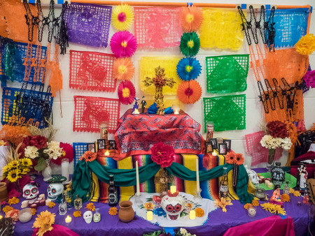 Redwood City, CAUSA - November 6, 2016: Dia de Los Muertos celebration to tonor the dead with a parade and party in downtown Redwood City. The celebration will include music, kids activities, traditional food, vendors and altars contest at the San Mateo