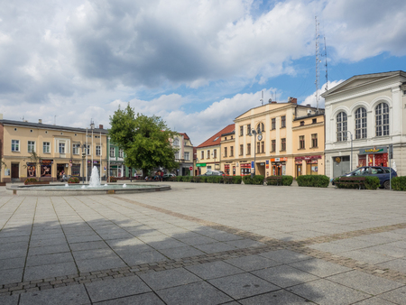 wielkopolska: Market Square in Wagrowiec, a town is situated in the middle of the historical region of Paluki and the Chodziez Lake area in Greater Poland.