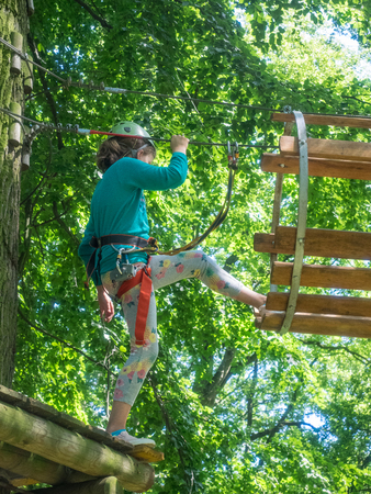 Kolobrzeg ropes course is full of challenges in the form of beams, platforms, ladders and nets.