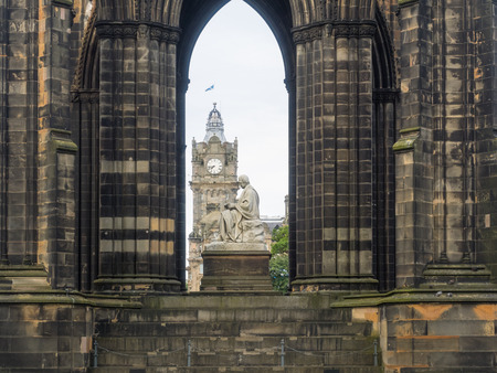 scott monument: Scott Monument is a Victorian Gothic monument to Scottish author Sir Walter Scott. It is the largest monument to a writer in the world. Stock Photo