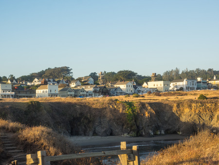 unincorporated: Mendocino is an unincorporated community in Mendocino County, California. Despite its small size, the towns scenic location on a headland surrounded by the Pacific Ocean has made it extremely popular as an artist colony and with vacationers. Stock Photo