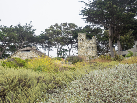 big sur: Tor House and Hawk Tower are buildings in Carmel-by-the-Sea, California, built by poet Robinson Jeffers. Stock Photo