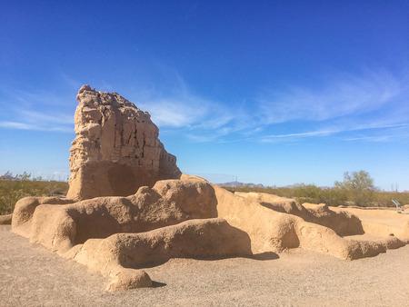 adobe wall: Casa Grande Ruins National Monument in Coolidge, Arizona, just northeast of the city of Casa Grande, preserves a group of Ancient Pueblo Peoples Hohokam structures of the Pueblo III and Pueblo IV Eras.