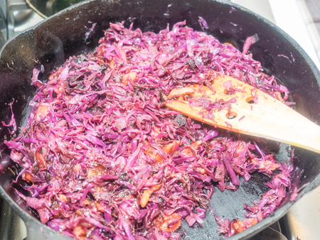 accompaniment: Simple, homey braised red cabbage recipe is the perfect accompaniment to a chilly-weather braise. Stock Photo
