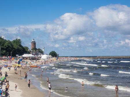 Central Beach in Kolobrzeg during summer vacations. Stock fotó