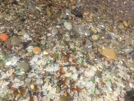 Glass Beach is a beach in MacKerricher State Park near Fort Bragg, California that is abundant in sea glass created from years of dumping garbage into an area of coastline near the northern part of the town