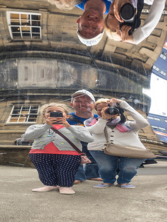 obscura: Camera Obscura and World of Illusions is a major tourist attraction in the Old Town, Edinburgh, Scotland. It is located on the Castlehill section of the Royal Mile next to Edinburgh Castle. Stock Photo