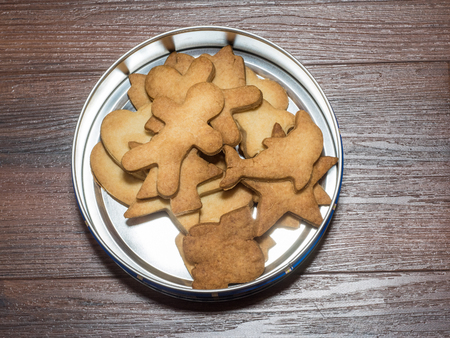 Box of shortbread cookies made at home before Christmas.