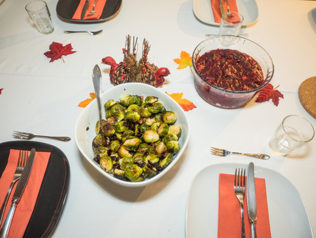Homemade roasted brussels sprouts with garlic and pancetta