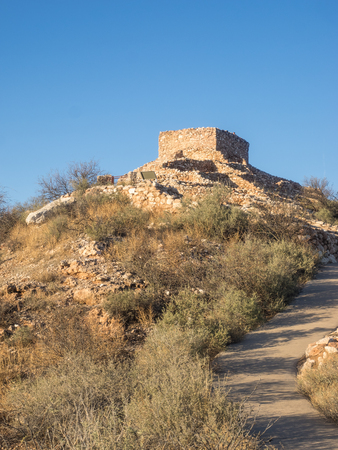 Tuzigoot National Monument preserves a 2- to 3-story pueblo ruin on the summit of a limestone and sandstone ridge just east of Clarkdale, Arizona, 120 feet (36 m) above the Verde River floodplain.