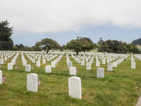 headstones: Memorial Day observance at Golden Gate National Cemetery in San Bruno, California.