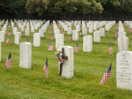Memorial Day observance at Golden Gate National Cemetery in San Bruno, California. Stock Photo - 80364295