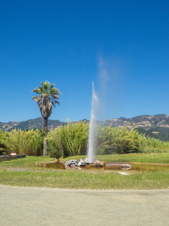 Old Faithful Geyser of California was declared one of only three �faithful� geysers in the world because of its regular eruptions. Stock Photo