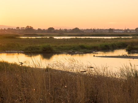 Shoreline At Mountain View is wildlife and recreation area with it's beautiful setting by the San Francisco Bay has gorgeous views of the mountains to the west and east across the bay. Stock Photo
