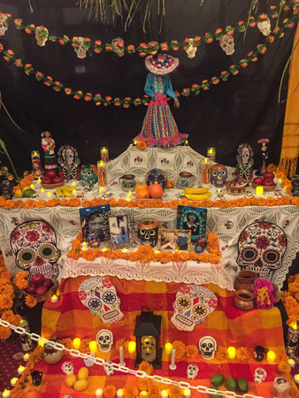 Redwood City, CA/USA - November 5, 2017: Dia de Los Muertos celebration to honor the dead with a parade and party in downtown Redwood City. The celebration will include music, kids activities, traditional food, vendors and altars contest at the San Mateo  Editorial