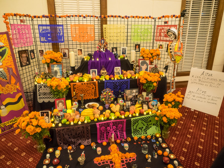 Redwood City, CAUSA - November 5, 2017: Dia de Los Muertos celebration to honor the dead with a parade and party in downtown Redwood City. The celebration will include music, kids activities, traditional food, vendors and altars contest at the San Mateo  Editorial