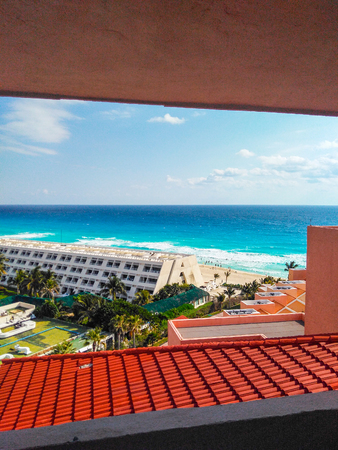 View from a hotel located in hotel zone on Cancun Island.