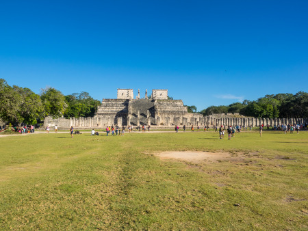 Chichen Itza (at the mouth of the well of the Itza people) was a large pre-Columbian city built by the Maya people of the Terminal Classic period. The archaeological site is located in Tinúm Municipality, Yucatán State, Mexico. Stock Photo