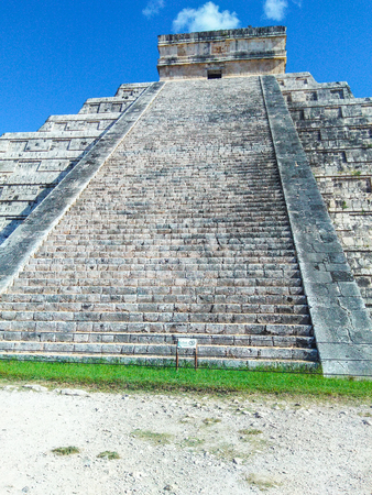 Chichen Itza (at the mouth of the well of the Itza people) was a large pre-Columbian city built by the Maya people of the Terminal Classic period. The archaeological site is located in Tinúm Municipality, Yucatán State, Mexico.