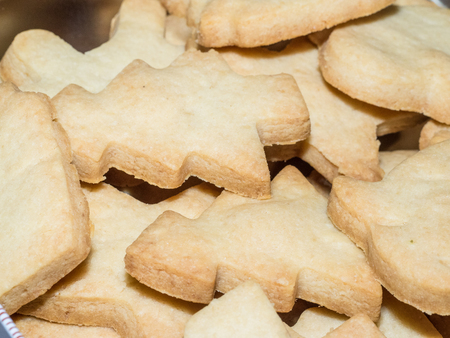 Making shortbread cookies at home before Christmas.
