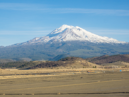 Mount Shasta is a potentially active volcano at the southern end of the Cascade Range in Siskiyou County, California.