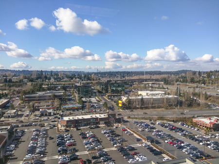 View of Factoria Marketplace from Newport Corporate Center in Bellevue, WA Editorial