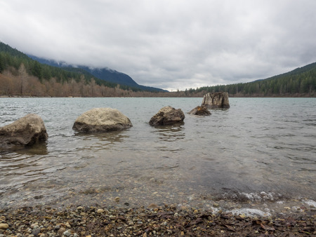 Rattlesnake Lake is a lake in King County, Washington, located in Rattlesnake Mountain Scenic Area some 30 miles (48 km) east of Seattle. Stock Photo