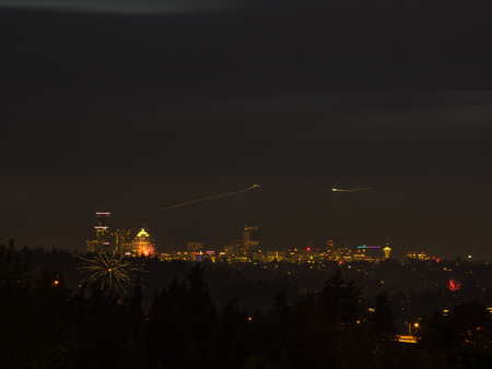 Seattle skyline is ablaze with dazzling fireworks set off to vivaciously celebrate Independence Day.