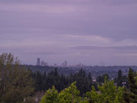 Seattle skyline view on cloudy day. 版權商用圖片