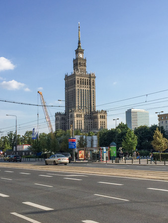 Palace of Culture and Science  is a notable high-rise building in Warsaw, Poland. Constructed in 1955, it is the center for various companies, public institutions and cultural activities such as concerts, cinemas, theaters, libraries, sports clubs, universities, scientific institutions and authorities of the Polish Academy of Sciences.