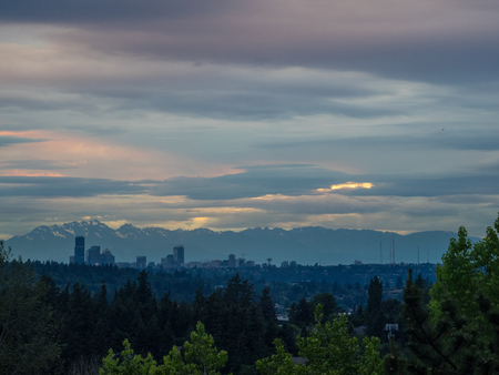Seattle skyline view on cloudy day. Banco de Imagens